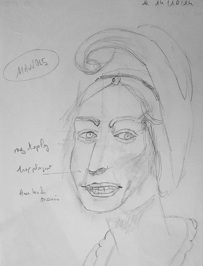 apprendre a dessiner - portrait au crayon réalisé par une élève après deux cours de dessin